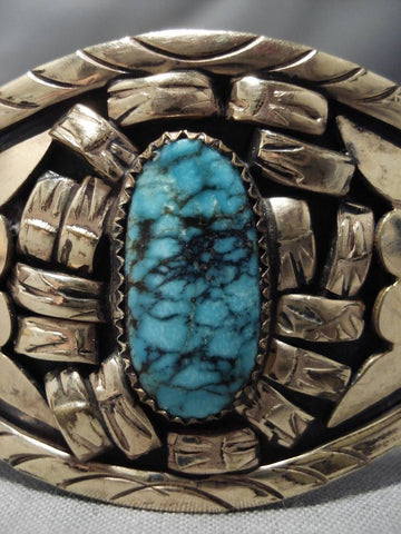 Superlative Vintage Native American Navajo Blue Warrior Turquoise Sterling Silver Bracelet Old-Nativo Arts
