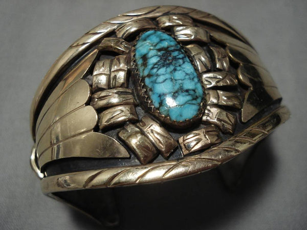 Superlative Vintage Native American Navajo Blue Warrior Turquoise Sterling Silver Bracelet Old