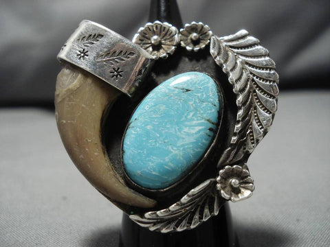 Superlative Vintage Native American Navajo Sterling Silver Domed Turquoise Ring Old-Nativo Arts