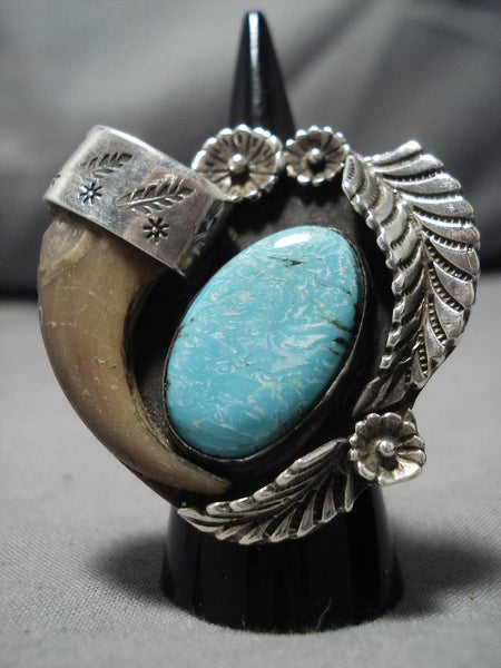 Superlative Vintage Native American Navajo Sterling Silver Domed Turquoise Ring Old