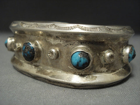 Superlative Vintage Navajo Bisbee Turquoise Sterling Native American Jewelry Silver Bracelet Old Pawn-Nativo Arts