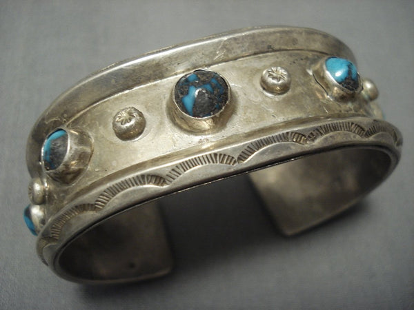 Superlative Vintage Navajo Bisbee Turquoise Sterling Native American Jewelry Silver Bracelet Old Pawn