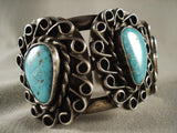 Swirling Cove Vintage Navajo Turquoise Native American Jewelry Silver Bracelet Old-Nativo Arts