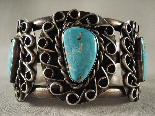 Swirling Cove Vintage Navajo Turquoise Native American Jewelry Silver Bracelet Old