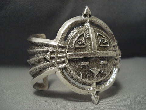 Symbolic And Important Navajo Sterling Native American Jewelry Silver Sun Bracelet-Nativo Arts