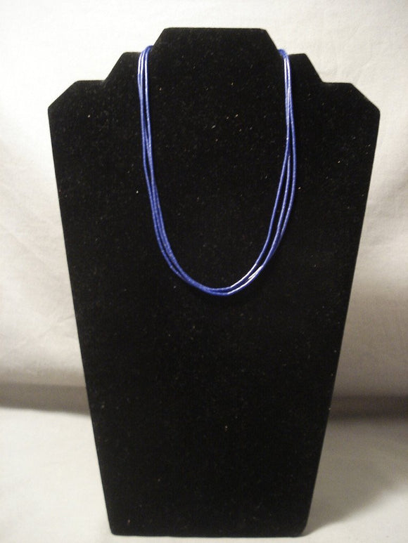 T5he Most Intricate And Thin Vintage Navajo Lapis Native American Jewelry Silver Necklace-Nativo Arts