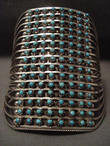 TALL TALL TALL VINTAGE ZUNI TURQUOISE SILVER BRACELET-Nativo Arts