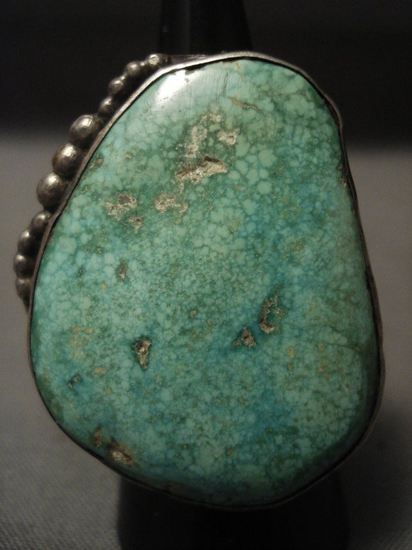 The Best Very Old Deposit Carico Lake Turquoise Native American Jewelry Silver Ring-Nativo Arts