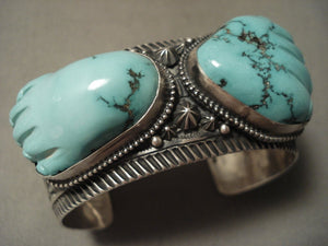The Best Vintage Navajo Aaron Toadlenda 'Turquoise Hand' Native American Jewelry Silver Bracelet-Nativo Arts