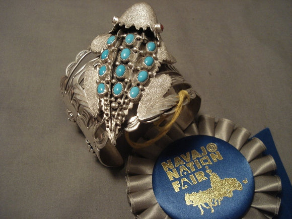The Best Vintage Navajo Benney Yazzie Native American Jewelry Silver Toad Bracelet- Major Award!-Nativo Arts