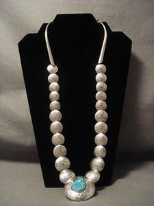 "THE BEST VINTAGE NAVAJO """"FLAT TOOLED BEAD"""" SILVER NECKLACE-Nativo Arts"