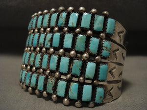 The Best Vintage Navajo Larry Moses Begay Turquoise Native American Jewelry Silver Bracelet-Nativo Arts
