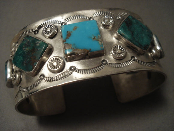 The Best Vintage Navajo Leo Nez Persian Turquoise Native American Jewelry Silver Bracelet-Nativo Arts