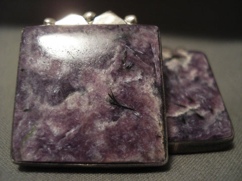 The Best Vintage Navajo Orville Tsinnie Charoite Native American Jewelry Silver Earrings-Nativo Arts