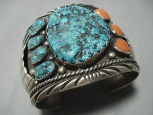 The Best Vintage Navajo Orville Tsinnie Turquoise Coral Sterling Native American Jewelry Silver Bracelet-Nativo Arts