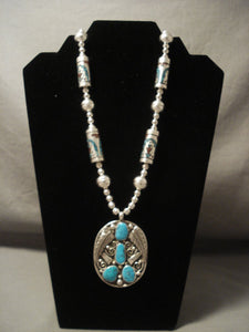 The Best Vintage Navajo Singer 'Inlay Tube: Native American Jewelry Silver Turquoise Necklace-Nativo Arts