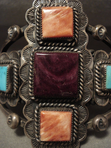 The Best Vintage Navajo Spiny Oyster Turquoise Native American Jewelry Silver Bracelet-Nativo Arts