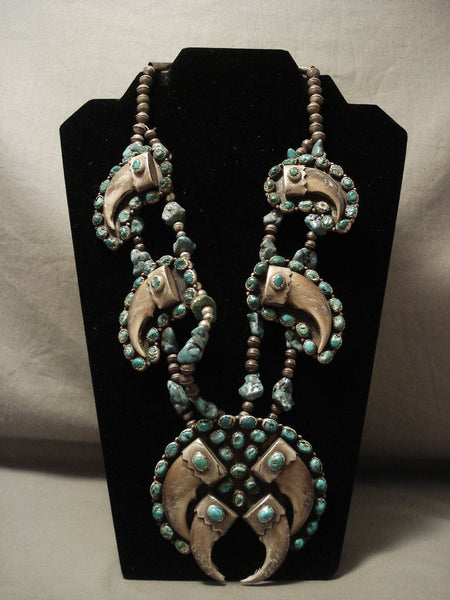 The Best Vintage Navajo Turquoise Native American Jewelry Silver Real Squash Blossom Necklace Old