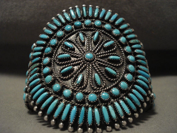 The Best Vintage Navajo Victor Moses Begay Turquoise Sun Native American Jewelry Silver Bracelet-Nativo Arts