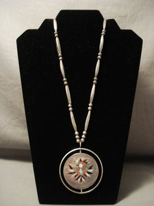 The Best Vintage Zuni 'Rotating Medallion' Native American Jewelry Silver Inlaid Necklace Old Antique-Nativo Arts