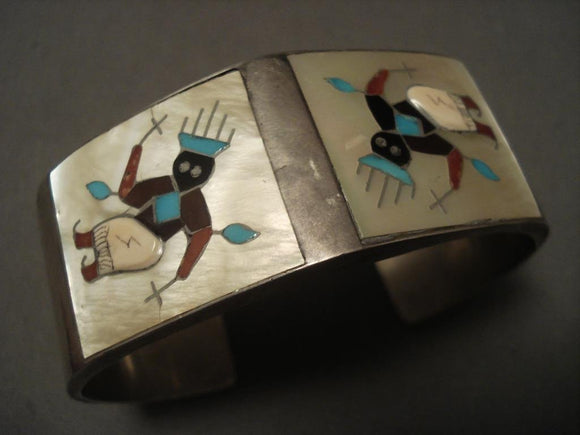 The Best Vintage Zuni Tony Ohmsatte Kachina Native American Jewelry Silver Bracelet-Nativo Arts