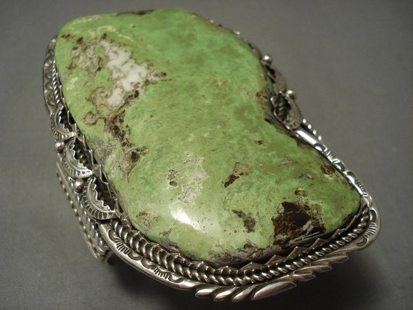 The Biggest And Best Navajo Gaspeite Sterling Native American Jewelry Silver Bracelet-Nativo Arts