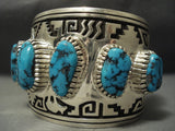 The Biggest And Best Navajo Vernon Haskie Turquoise Sterling Native American Jewelry Silver Bracelet-Nativo Arts