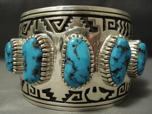 The Biggest And Best Navajo Vernon Haskie Turquoise Sterling Native American Jewelry Silver Bracelet