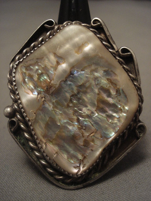 The Biggest And Best Vintage Navajo Abalone Native American Jewelry Silver Ring Old-Nativo Arts