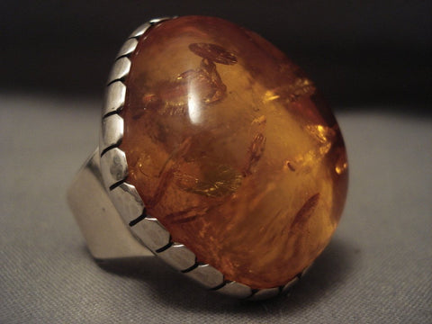 The Biggest And Best Vintage Navajo Amber Native American Jewelry Silver Ring-any Size! Adjustable Shank-Nativo Arts