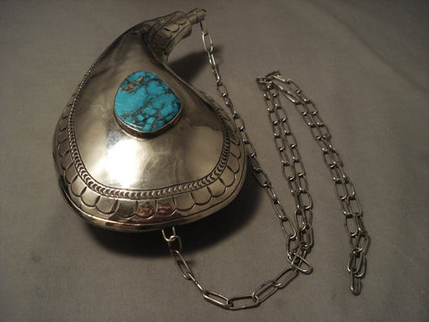 The Biggest And Best Vintage Navajo Canteen Turquoise Native American Jewelry Silver Necklace-Nativo Arts