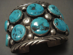 The Biggest And Best Vintage Navajo Freddie Weekoty Turquoise Native American Jewelry Silver Bracelet-Nativo Arts