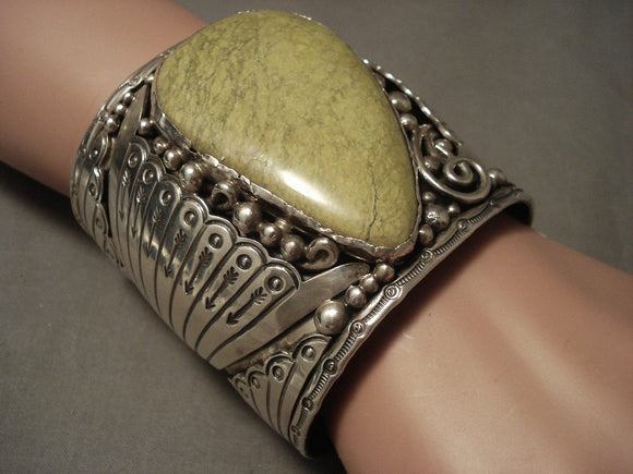 The Biggest And Best Vintage Navajo Gaspeite Native American Jewelry Silver Bracelet- 200 Grams!-Nativo Arts