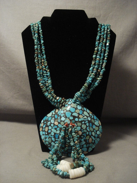 The Biggest And Best Vintage Navajo Native American Jewelry jewelry Shell Turquoise Necklace-Nativo Arts