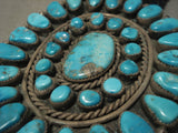 The Biggest And Best Vintage Navajo Persian Turquoise Native American Jewelry Silver Bolo Tie-Nativo Arts