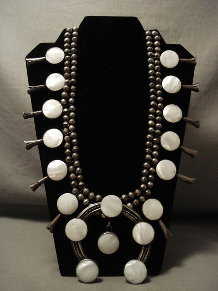 The Buiggest And Best Vintage Navajo Mother Pearl Native American Jewelry Silver Squash Blossom Necklace