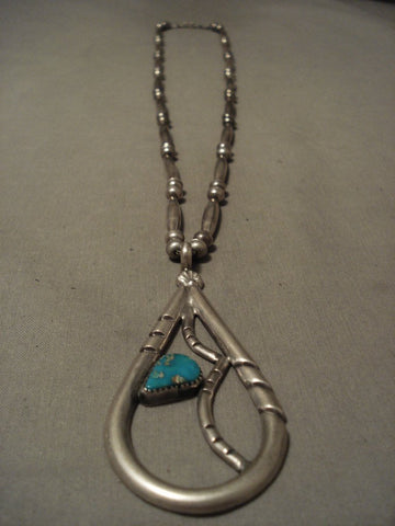 The Largest Teardrop Turquoise Native American Jewelry Silver Pendant Necklace Old-Nativo Arts
