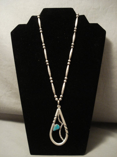 The Largest Teardrop Turquoise Native American Jewelry Silver Pendant Necklace Old