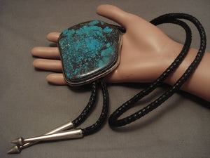 The Largest Vintage Navajo Red Mountain Turquoise Native American Jewelry Silver Bolo Tie-Nativo Arts