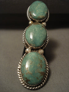 The Tallest Navajo Natural Green Turquoise Native American Jewelry Silver Ring-Nativo Arts