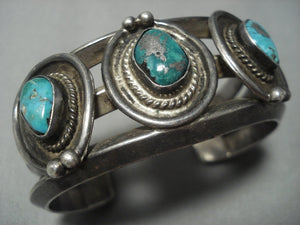 Thick And Heavy!! Vintage Navajo Blue Gem Turquoise Sterling Native American Jewelry Silver Bracelet Old-Nativo Arts