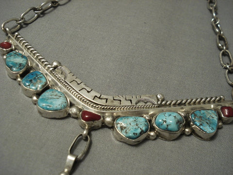 Thick And Heavy Vintage Navajo Gilbert Turquoise Sterling Native American Jewelry Silver Necklace-Nativo Arts