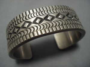 Thick And Heavy!! Vintage Navajo Sterling Native American Jewelry Silver Bracelet-Nativo Arts