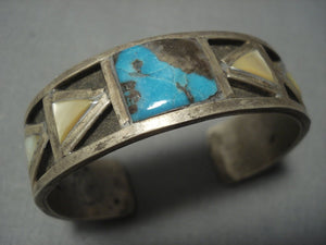 Thick And Hvy Vintage Navajo Bisbee Turquoise Sterling Native American Jewelry Silver Bracelet Old-Nativo Arts