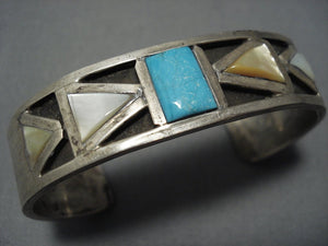 Thicker Sterling Silver Nevada Turquoise Vintage Navajo Native American Jewelry jewelry Bracelet Old-Nativo Arts