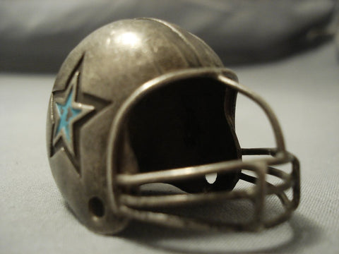 Touchown! Vintage Navajo Sterling Native American Jewelry Silver Cowboys Helmet Statue-Nativo Arts