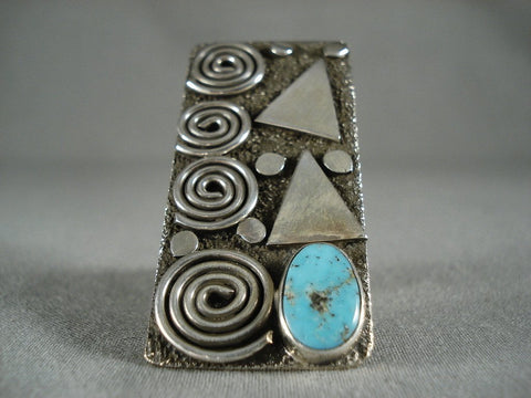 Towering Advanced Native American Jewelry Silver Work Navajo Turquoise Ring-Nativo Arts