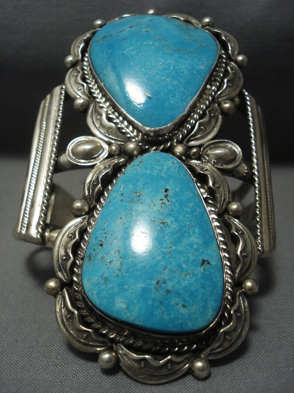 Towering Navajo Blue Turquoise Sterling Native American Jewelry Silver Bracelet-Nativo Arts