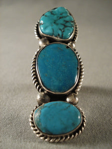 Towering Old Navajo Turquoise Native American Jewelry Silver Ring-Nativo Arts