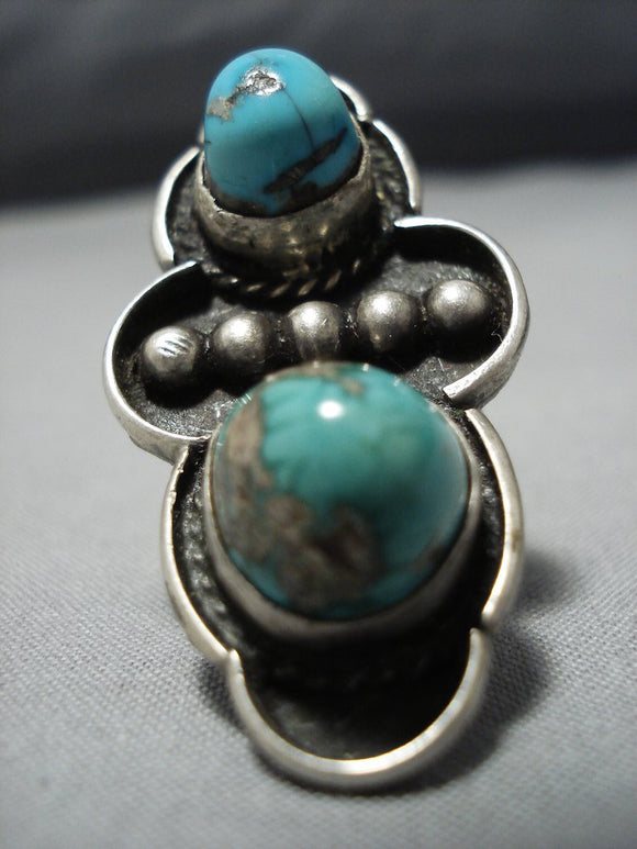 Towering Protruding Turquoise Vintage Native American Jewelry Navajo Sterling Silver Ring-Nativo Arts